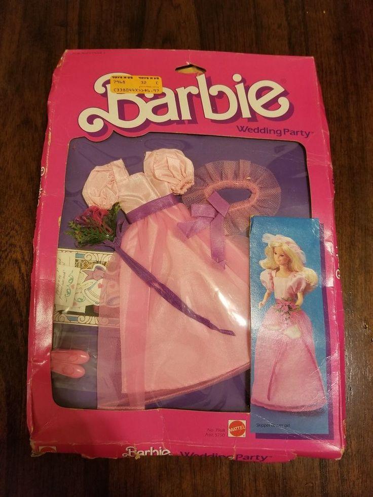Barbie Wedding Party Skipper Flower Girl Dress 1984 Mattel Doll Clothes Boxed  #Mattel
