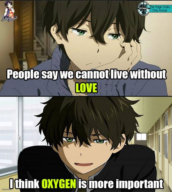 so true actually instead of love i would rather say anime/manga