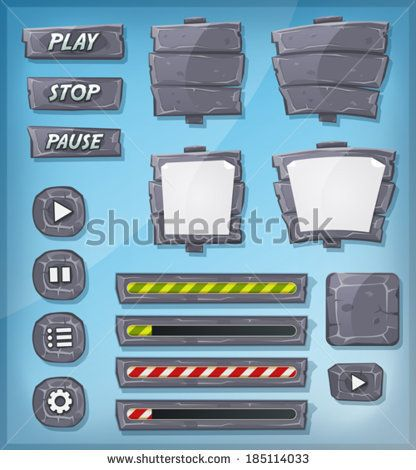 Cartoon Stone And Rock Icons For Ui Game/ Illustration of a set of various cartoon design ui game stony and rock elements including banners, signs, buttons, load bar and app icon background - stock vector