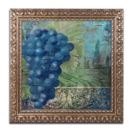 Trademark Fine Art Vino Blu Two Canvas Art by Color Bakery Gold Ornate Frame, Assorted