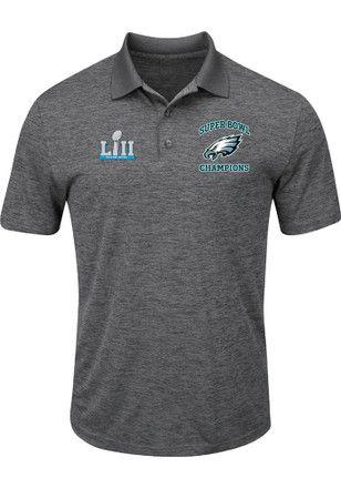 Philadelphia Eagles Mens Black SB LII Play Action Short Sleeve Polo Shirt 6ddadad95
