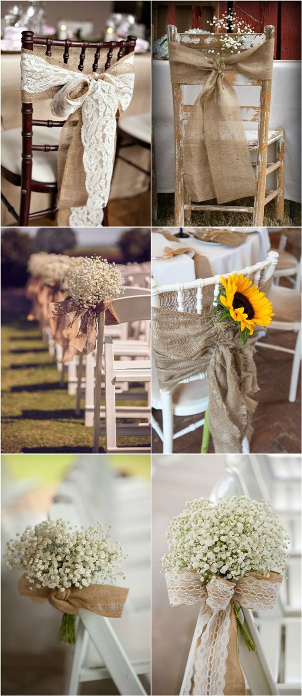 Affordable wedding chair decorations - 30 Rustic Burlap And Lace Wedding Ideas