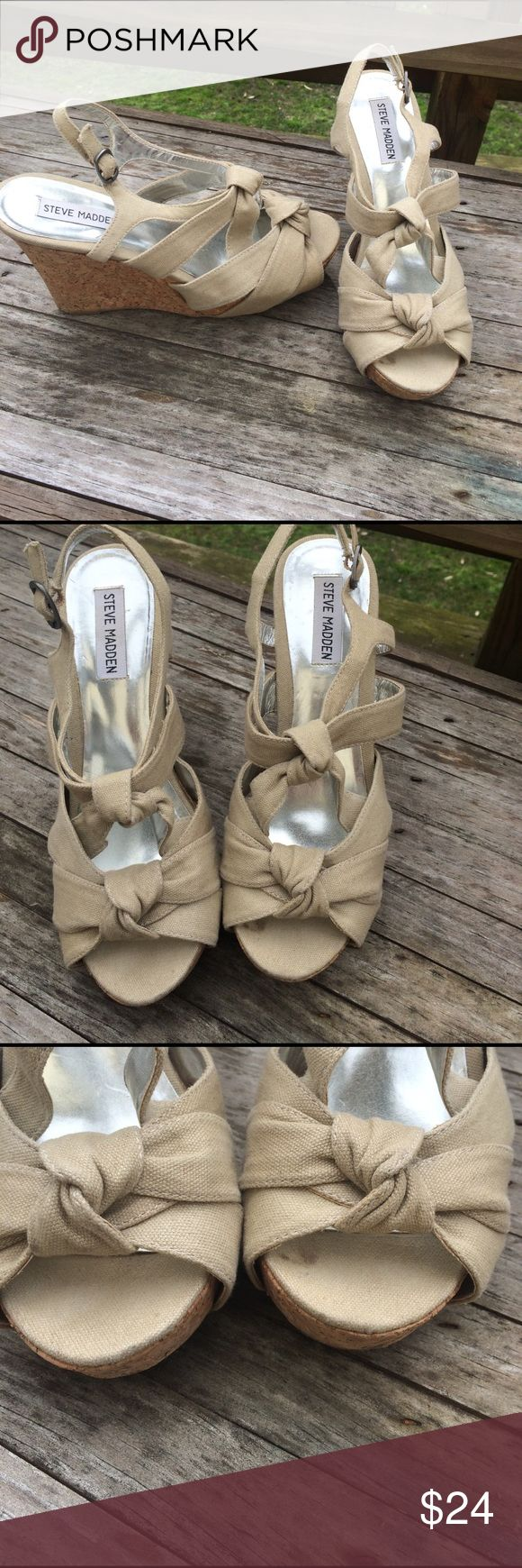 🎈WEEKEND SHOE Sale🎈Steve Madden Canvas Wedges Perfect for spring with a sundress or even with capris or ankle pants. Cream colored canvas knotted straps with a cork wedge. Steve Madden Shoes Wedges