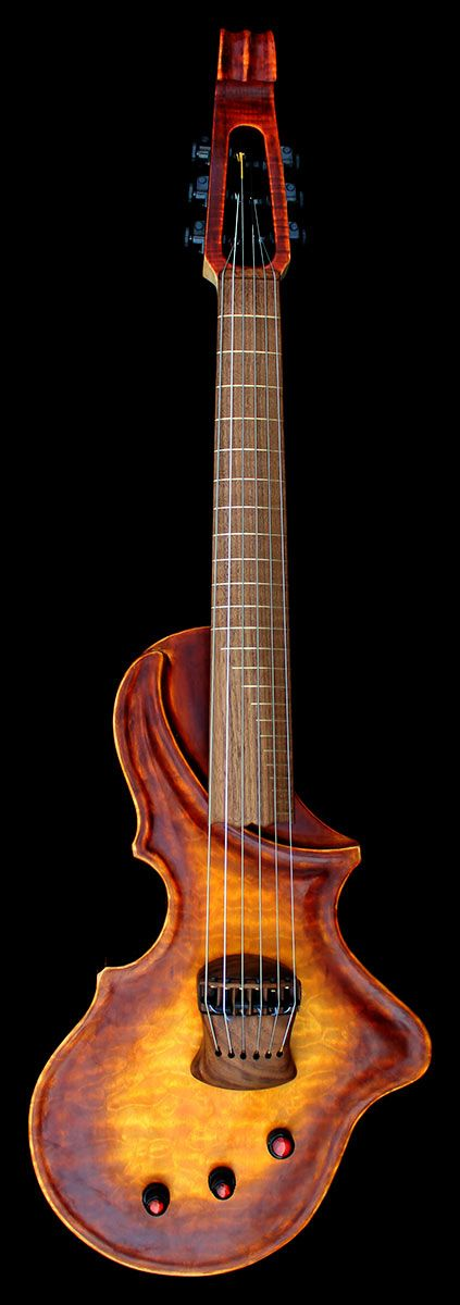 CHALICE - $4860.00 US  •  Alder body with archtop style carve and French Polish (Traditional antique vibe) •  Primo Flame, Quilt figure Maple or Walnut top •  Flame Maple neck with Semi Scroll Headstock •  Maple, or Walnut Fingerboard/bridge •  BOWD Horizon pickup system •  Active Bass/Treble/Mid EQ •  Flush mounted Dunlop straplocks •  Planet Waves Trim/Lock Tuners •  Helicore Bowed Strings EADGBE or BEADF#B option •  Incredibow electric GuitarViol Bow •  Custom Case