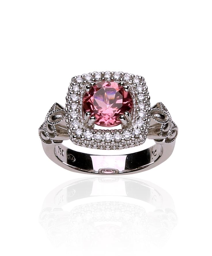 Diamond and pink tourmaline in white gold ring. Jenna Clifford Designs | Fine Jewellery � Rings