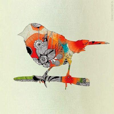 Little mixed media bird. Simplistisch centerstuk van stempel-/teken-/ en schilder technieken.