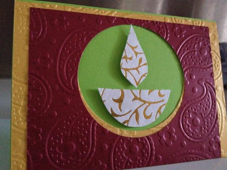 Handmade paisley embossed diwali card  www.facebook.com/RatanjiRani