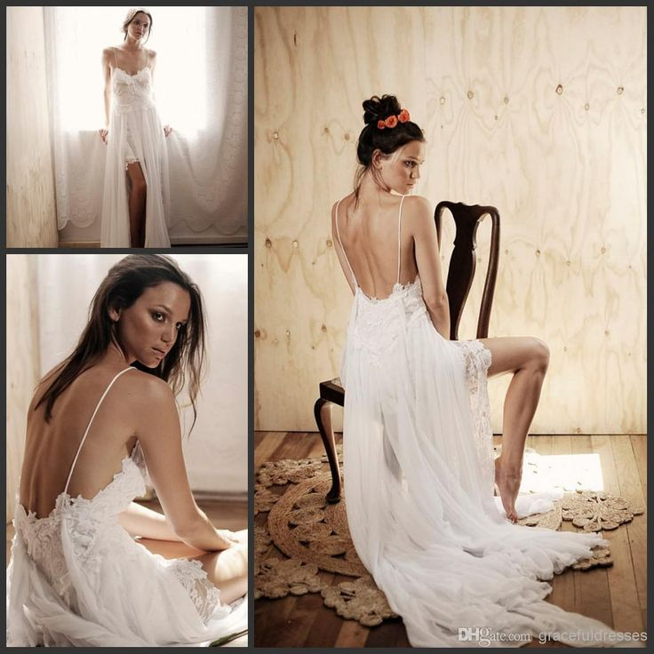 hawaii wedding gowns spaghetti straps appliques lace and chiffon bridal 2014 fashion long