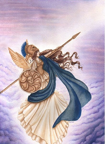 Athena, goddess of wisdom and war.
