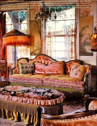 Magnolia Pearl Ranch... love the couch. fringe and velvet. O my
