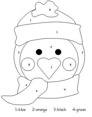 penguin color by number - Color Number Winter Worksheets