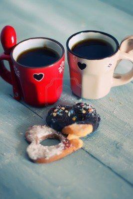 Foto de tazas de café lindos con forma de corazón galletas Foto de archivo - 17663550