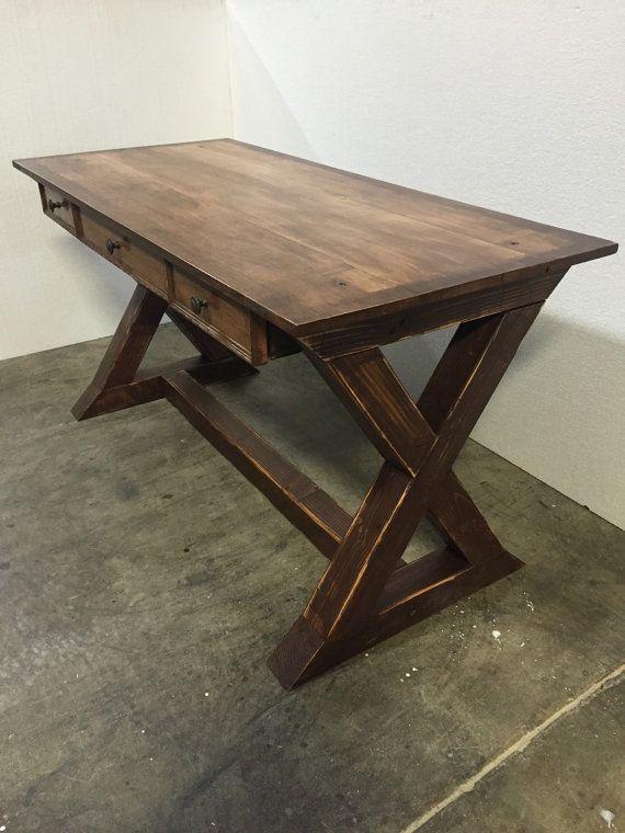 farmhouse desk rustic desk x desk by wolfcreekcarpentry more build rustic office desk