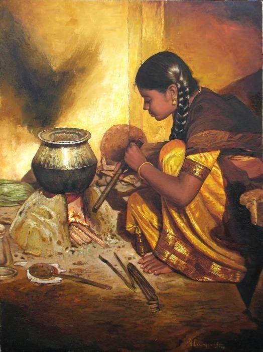 Painting by artist Elayaraja, India - http://elayarajaartgallery.com