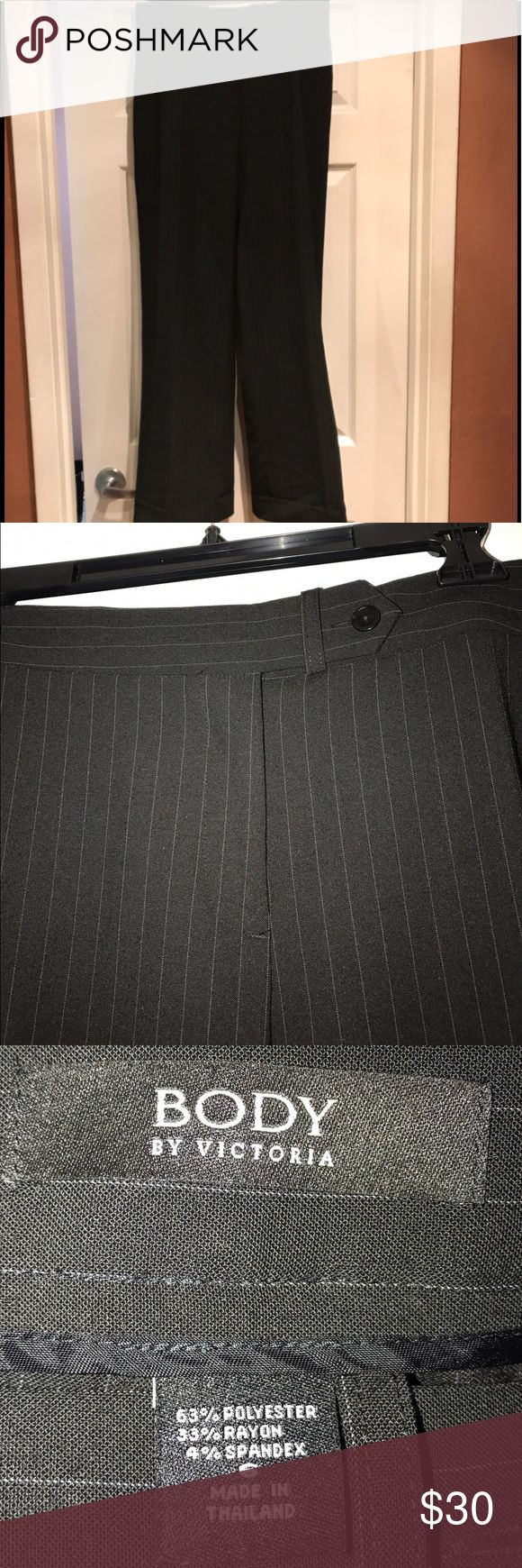 Size 6 Body by Victoria striped pants Dark Grey pin striped, my camera is not picking up true colors, VS size 6, the third picture is closer to the real color Victoria's Secret Pants Trousers