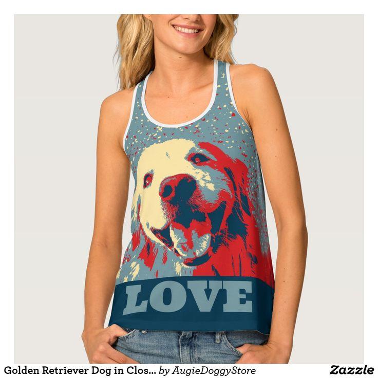 Golden Retriever Dog in Closeup Stylized Love Tank Top