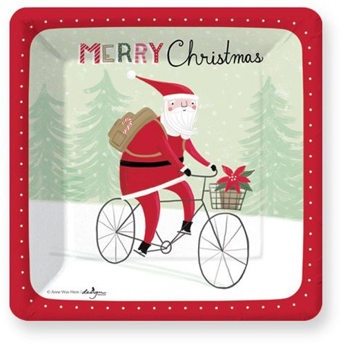 Santa Bicycle Delivery Dessert Paper Plates
