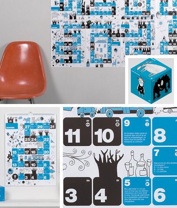 12 calendar pages in A3 format that all together compose a game board. Funny but also educative game for up to 4 players that will definitely increase the eco-conscience of your children. #calendar