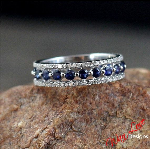 Sapphire Diamond Almost Eternity Band ring Silver Gold white, yellow, rose gold-Custom made your size-Wedding-Engagement-Anniversary-Wedding...