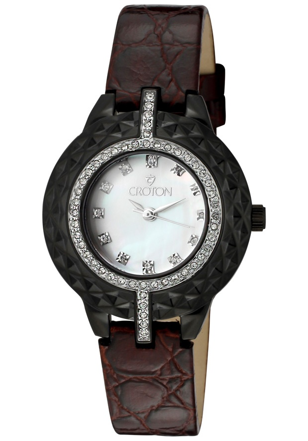 Price:$68.84 #watches Croton CN207360BKBR, Women's genuine leather strap watch. Mother of pearl dial with Austrian crystals on every hour.