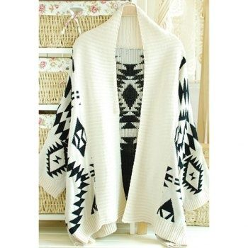 17.48 Stylish Turndown Neck Geometric Pattern Thicken Long Sleeve LooseFit Womens Cardigan Sweater