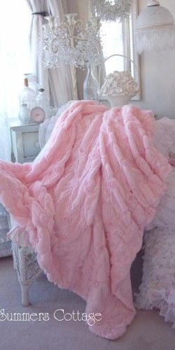 Pink Ruffle Roses Chic Throw