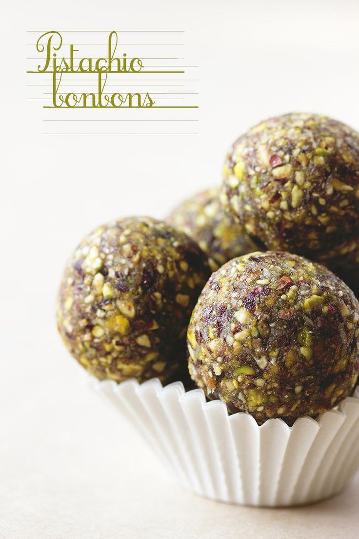 Pistachio Bonbons. Just pistachios, dates, shredded coconut and nut ...