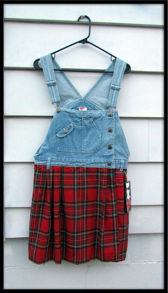 SALE 30% off See shop announcement 80s Vintage plaid denim overalls jumper shorts romper scooter skirtDress NOS never worn