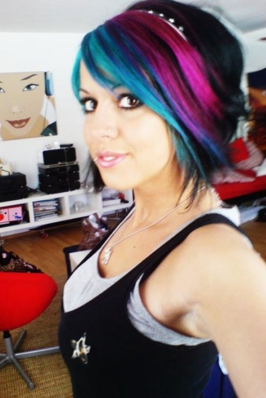 Black bob with blue, purple and pink layers. | Hair ️ ...