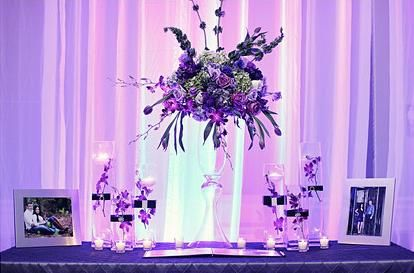 Beautiful table scape, perfect for a guest book sign in or a cake/gift table  #weddingdecor #minnesotawedding #parkplazabloomington #wedding #purple #pink