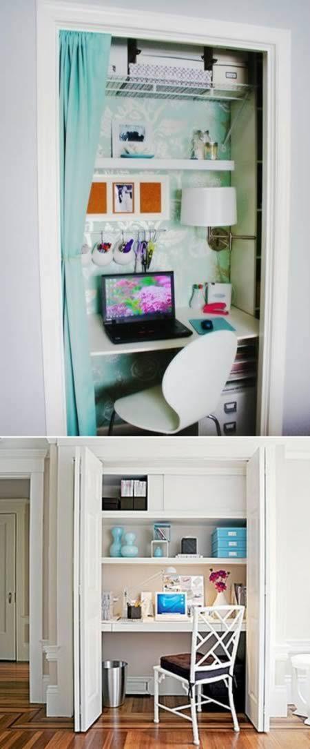 12 Most Creative Closet Designs - Oddee.com - closet + office = cloffice! great idea! :D