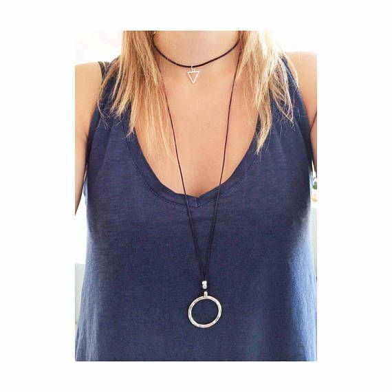 silver circle necklace triangle charm choker necklace black