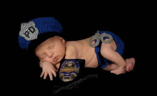 Neugeborenes Baby Polizei Outfit häkeln Polizei Hut und Windel mit   – Newborn Photography