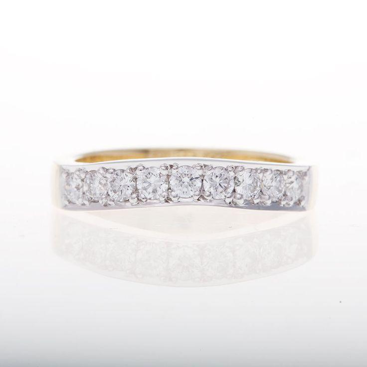 18ct Two Tone Bead Set Diamonds Ring