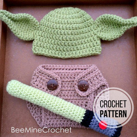 Baby Yoda Crochet outfit Hat Diaper cover