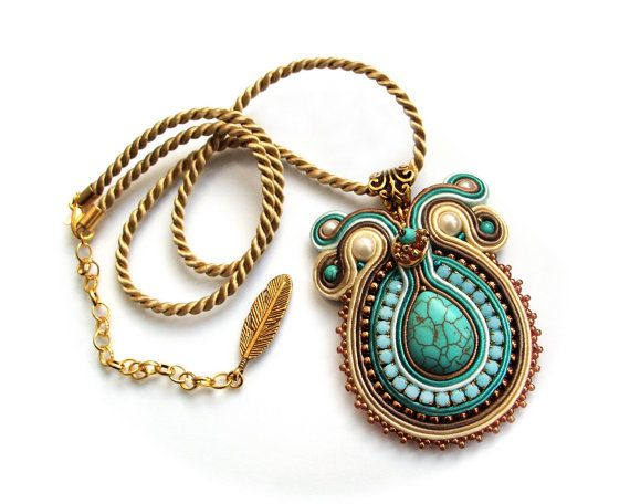 Soutache pendant very elegant eyecatching and by rododendron7                                                                                                                                                                                 More