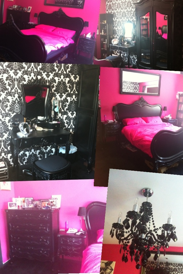 Omg does this scream Nicole or what?! Handmade furniture from France, Victorian Style. Damask Wallpaper. Black Chandelier. And Hot Pink Walls!!