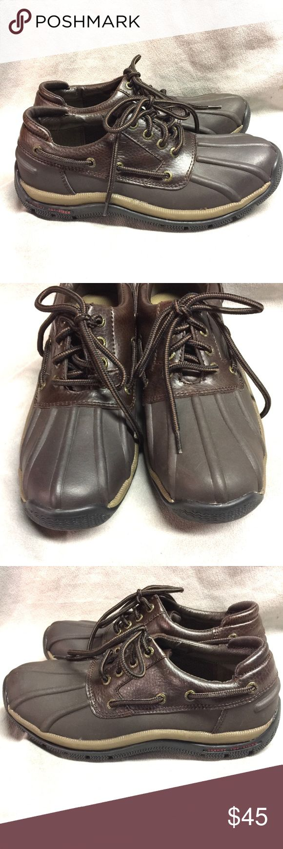 Sperry Top-Sider Low Duck Boots Mens Size 7.5M Sperry Top-Sider Low Duck Boots Mens Size 7.5M Brown Leather & Rubber  Very good condition Please see pictures to see if they will work for you! Sperry Top-Sider Shoes Rain & Snow Boots