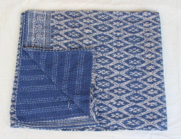Indian Bedspread Hand Block Print Cotton Indigo Blue Ekat Kantha Bed Cover MS #SSTH #Asian