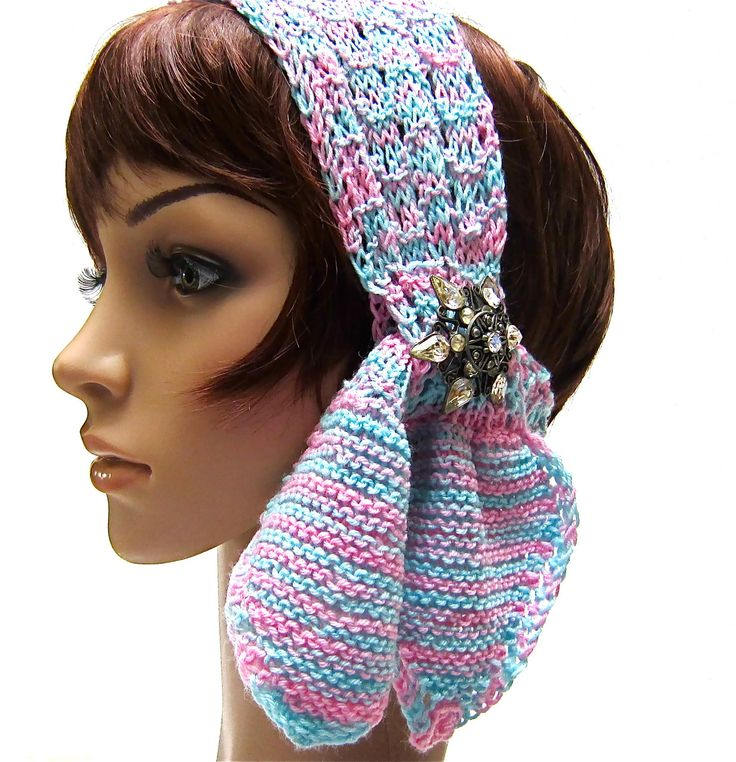 Knitted Head Scarf Pattern : 3 Option Scarf Headband Head Wrap blue pink white pastel soft wool hand knit ...