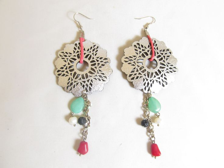 Handmade earrings with silver leather filigrees (1 pair)  Made with  silver leather filigrees, leather cord, antiallergic hangings, chain, semiprecious stones and glass beads.