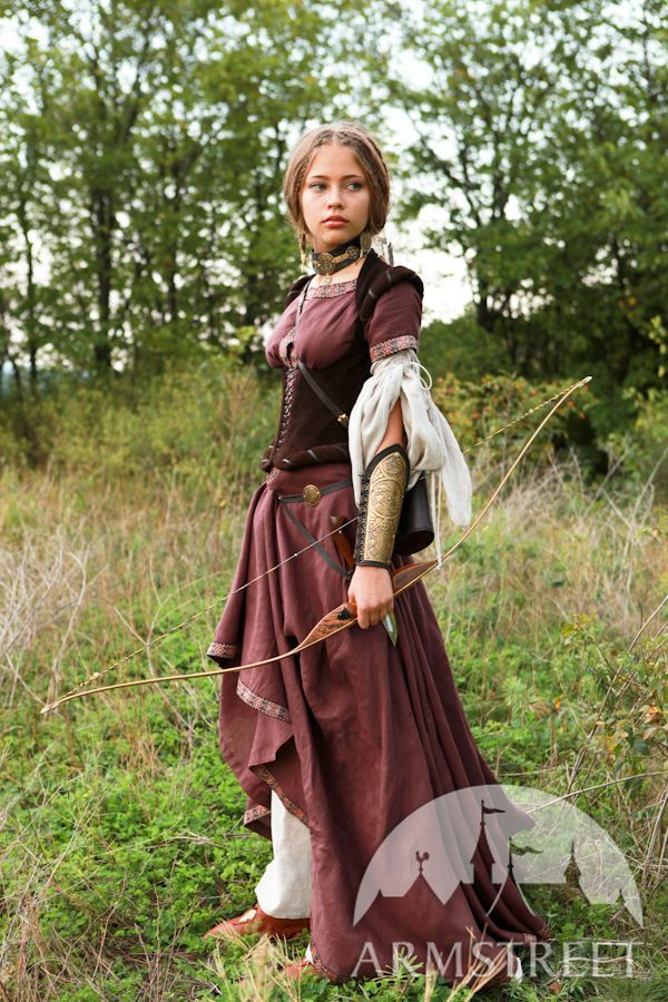 """Medieval Linen Dress """"Archeress"""" with Undertunic and Corset ... eb76a0314"""