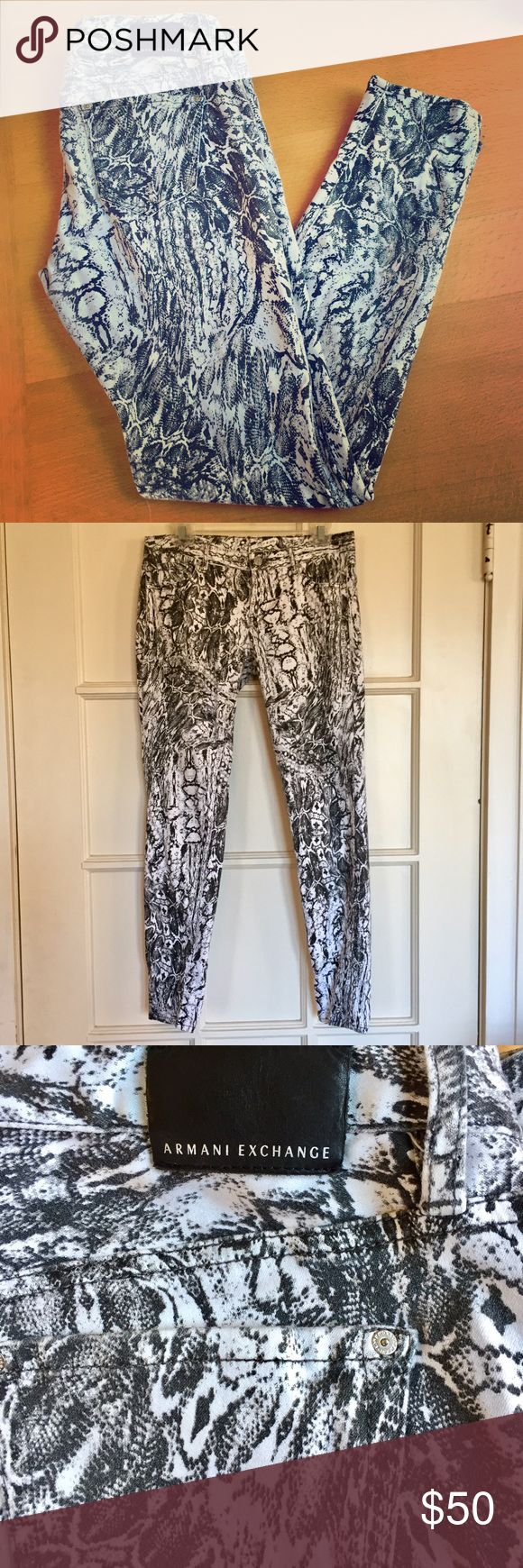 Armani Exchange snake print skinny jeans Sexy snake print skinny jeans. Stretchy, comfortable material.  Used-in great condition! Size 8. Armani Exchange Jeans Skinny