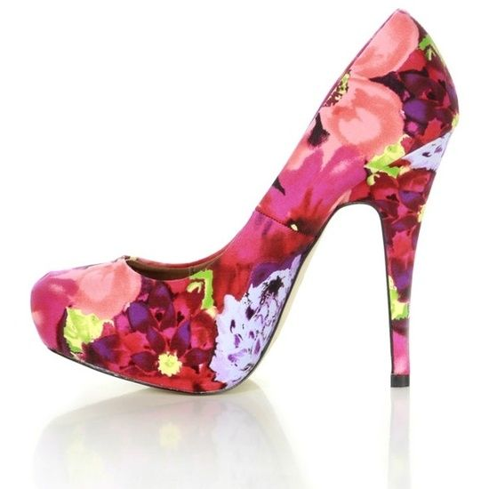 Currently Trending / Red Floral Print Concealed Platform High Heel ...