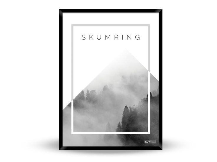 Plakat: Skumring i skoven (Sort/Hvid)
