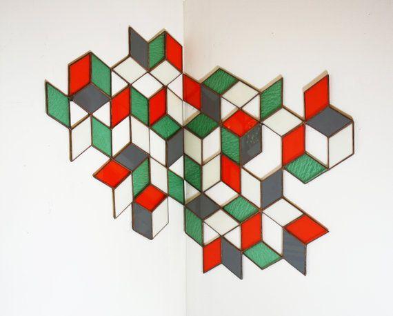 Stained Glass Corner Hanging: Openwork by BespokeGlassTile on Etsy