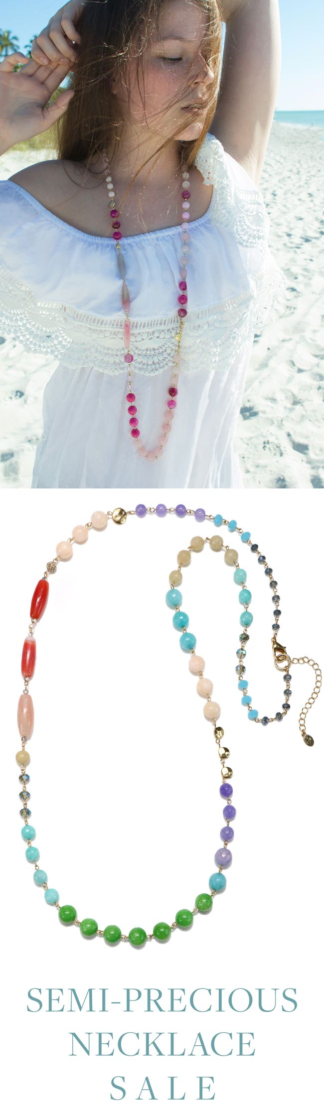 Summer Vibes start now with 25% off Semi-Precious Strand Necklaces! Shop now and wear for Memorial Day Weekend ☀️ Redeem code SEMI25 at checkout to receive 25% off our semi-precious strand necklace collection. Note that this discount code cannot be combined with other coupon codes. Online-only. Promotion valid thru 05/31/17 11:59pm EST.
