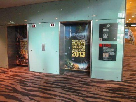 Lift signage for McDonalds conference by Peek Exhibition at SkyCity Auckland www.peek.co.nz