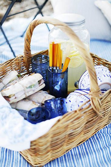 Behind the Scenes: Lauren Conrad's Etched Glassware // picnic basket, sandwiches, lemonade, @lilmarket etched blue glasses
