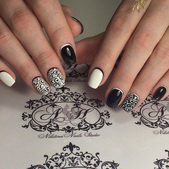 Black and white nail ideas, Black dress nails, Contrast nails, Dating nails, Elegant nails, Evening dress nails, Fashion nails 2016, Luxurious nails
